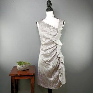 Suzi Chin | Silver Crepe Sheath Cocktail Dress